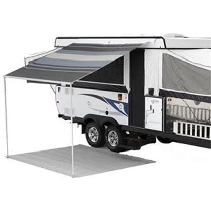 "Picture of Carefree Campout Ocean Blue Vinyl 8' 5""L X 6' 6""Ext Adj Pitch Manual Bag Awning 981018E00 00-1022"