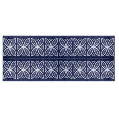 Picture of Camco  8' x 20' Blue Botanical Reversible Camping Mat 42831 01-2941