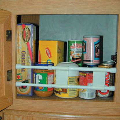 """Picture of Camco  10"""" To 17"""" White Plastic Spring Loaded Bar Cabinet Content Brace 44093 03-0465"""