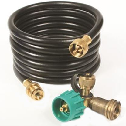Picture of Camco  Brass 90 Deg LP Tee w/ 3 Ports & 12' Hose 59143 06-0478