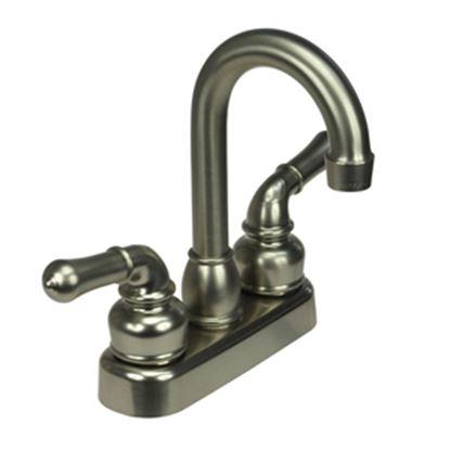 """Picture of Dura Faucet Classical Series Nickel w/Teapot Handles 4"""" Lavatory Faucet w/Hi-Arc Spout DF-PB150C-SN 10-0644"""