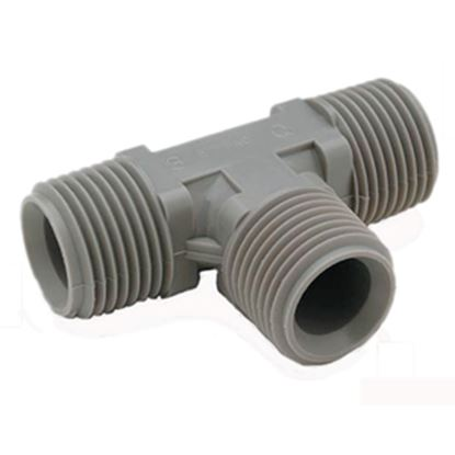 """Picture of QEST Qicktite (R) 1"""" Pipe Thread Gray Acetal Fresh Water Tee  10-3021"""