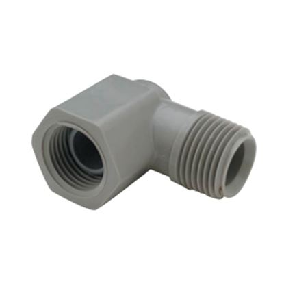"""Picture of QEST Qicktite (R) 1/2"""" MPT x 1/2"""" FPT Gray Acetal Fresh Water Elbow  10-3180"""