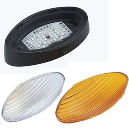 Picture of Green LongLife  Clear w/Amber Lens Oval LED Porch Light w/Switch 9090131 18-1185