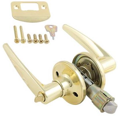Picture of AP Products  Brass Lever Entry Door Lock 013-231 20-0435