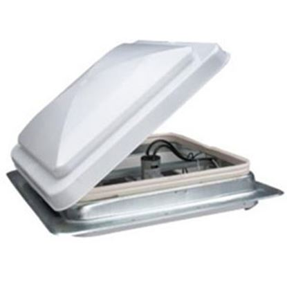 """Picture of Heng's  White 14""""x14"""" Metal Frame Roof Vent w/Fan 71112-C2G1 22-0421"""