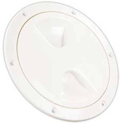 """Picture of JR Products  White 4.45""""RO Lockable Cord And Fresh Water Compartment Access Door 31005 22-0533"""